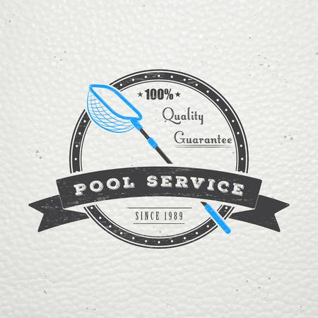 プール サービス。メンテナンスとクリーニングします。修理や家の調整。古いレトロなビンテージ グランジ。活版印刷ラベル、ステッカー、ロゴと  イラスト・ベクター素材