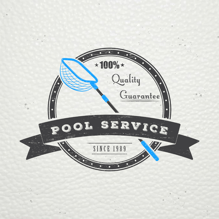 Zwembad service. Onderhoud en reiniging. Reparatie en aanpassing van de woning. Oude retro vintage grunge. Typografische labels, stickers, logo's en badges. Platte vector illustratie
