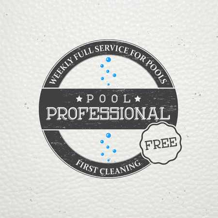 adjustment: Pool Service. Maintenance and Cleaning. Repair and adjustment of the house. Old retro vintage grunge. Typographic labels, stickers, logos and badges. Flat vector illustration