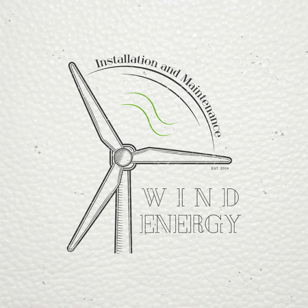 powered: Windmills for energy. Sustainable ecological electrical power generator powered by wind natural energy source. Old retro vintage grunge. Typographic labels, stickers, logos and badges. Flat vector illustration Illustration