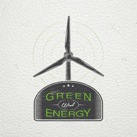 power generator: Windmills for energy. Sustainable ecological electrical power generator powered by wind natural energy source. Old retro vintage grunge. Typographic labels, stickers, logos and badges. Flat vector illustration Illustration