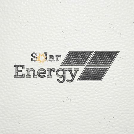 powered: Solar panels for energy. Sustainable ecological solar energy generator powered by natural energy source. Old school of vintage label. Typographic labels, stickers, logos and badges. Flat vector illustration Illustration