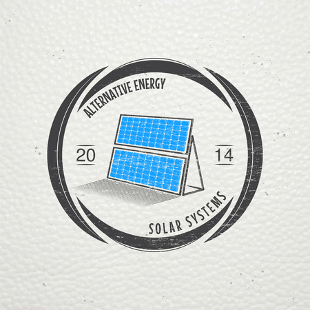 energy supply: Solar panels for energy. Sustainable ecological solar energy generator powered by natural energy source. Old school of vintage label. Typographic labels, stickers, logos and badges. Flat vector illustration Illustration