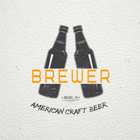 Beer pub. Brewing old school of vintage label. Old retro vintage grunge. Scratched, damaged, dirty effect. Typographic labels, stickers, logos and badges. Flat vector illustration