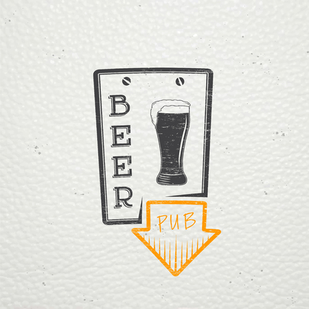 brewer: Beer pub. Brewing old school of vintage label. Old retro vintage grunge. Scratched, damaged, dirty effect. Typographic labels, stickers, logos and badges. Flat vector illustration