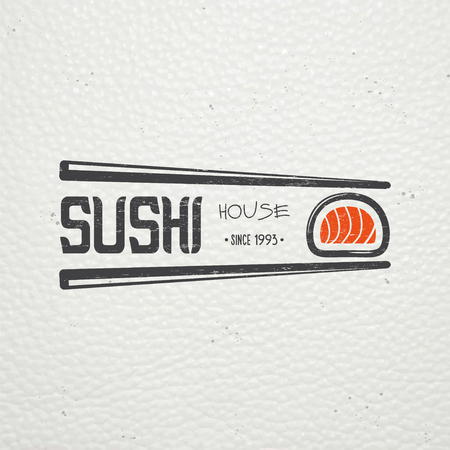 sushi restaurant: Sushi and rolls a set. Japanese kitchen. Food service. Old retro vintage grunge. Scratched, damaged, dirty effect. Typographic labels, stickers, logos and badges. Flat vector illustration