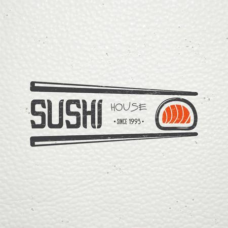 Sushi en rollen een set. Japanse keuken. Food Service. Oude retro vintage grunge. Bekrast, beschadigd, vuil effect. Typografisch labels, stickers, logo's en badges. Flat vector illustratie