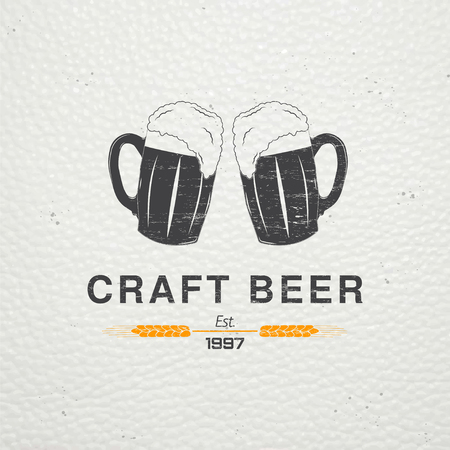 brew beer: Beer pub. Brewing old school of vintage label. Old retro vintage grunge. Scratched, damaged, dirty effect. Typographic labels, stickers, logos and badges. Flat vector illustration