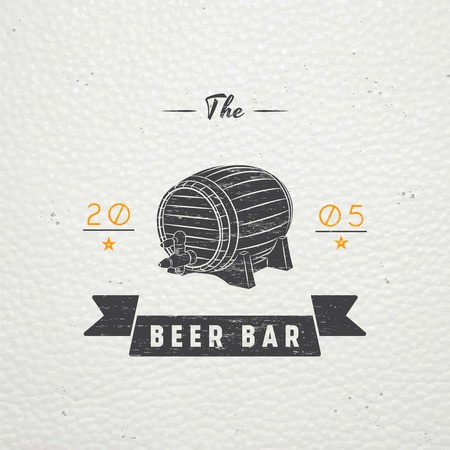 brewing house: Beer pub. Brewing old school of vintage label. Old retro vintage grunge. Scratched, damaged, dirty effect. Typographic labels, stickers, logos and badges. Flat vector illustration