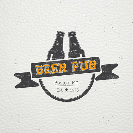 brew house: Beer pub. Brewing old school of vintage label. Old retro vintage grunge. Scratched, damaged, dirty effect. Typographic labels, stickers, logos and badges. Flat vector illustration