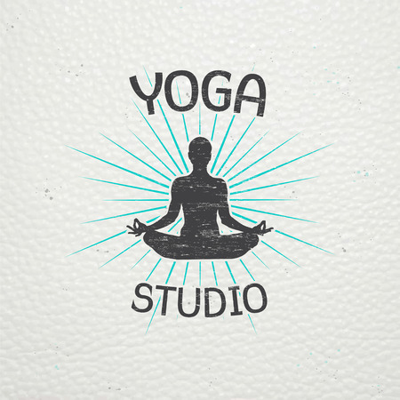 Yoga studio, fitness and meditation class. Health and beauty. Sports and self-development. Old retro vintage grunge. Typographic labels, stickers, logos and badges. Flat vector illustration