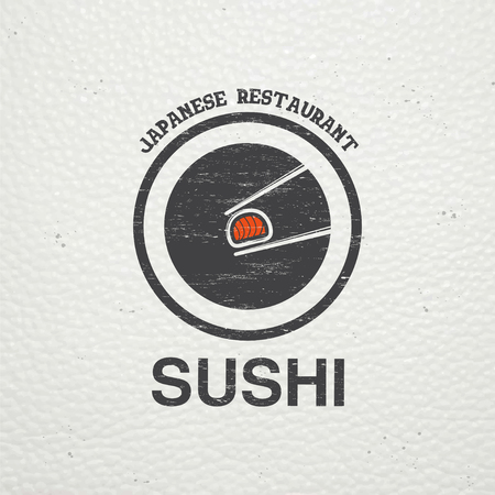 sushi chopsticks: Sushi and rolls a set. Japanese kitchen. Food service. Old retro vintage grunge. Scratched, damaged, dirty effect. Typographic labels, stickers, logos and badges. Flat vector illustration