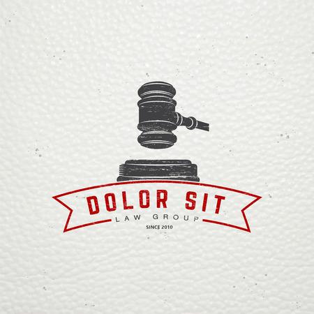 弁護士サービス。法律事務所。裁判官、地方検事、ビンテージ ラベルの弁護士。古いレトロなビンテージ グランジ。活版印刷ラベル、ステッカー、