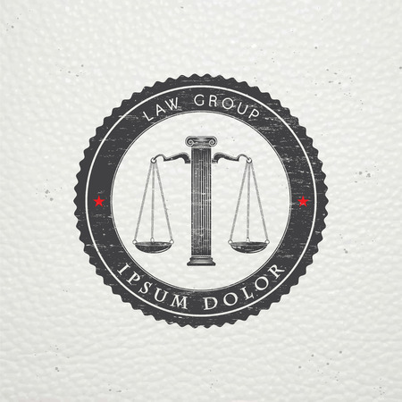 attorney: Lawyer services. Law office. The judge, the district attorney, the lawyer of vintage labels. Old retro vintage grunge. Typographic labels, stickers, logos and badges. Flat vector illustration