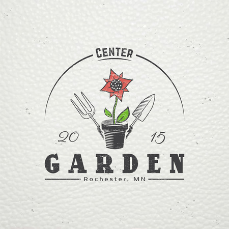 garden design: A farm growing flowers. Gardening Tools Shop. Garden Center set. Old retro vintage grunge. Scratched, damaged, dirty effect. Typographic labels, stickers, logos and badges. Flat vector illustration