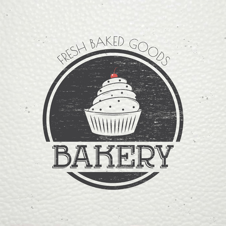 bakery products: Sweet Cupcakes. Bakery baking. Cafes and eateries. The food and service. Old retro vintage grunge. Scratched, damaged, dirty effect. Typographic labels, stickers, logos and badges. Flat vector illustration