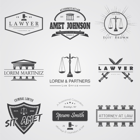 Lawyer services. Law office. The judge, the district attorney, the lawyer set of vintage labels. Scales of Justice. Court of law symbol.  Typographic labels, stickers, logos and badges. Flat vector illustration 向量圖像