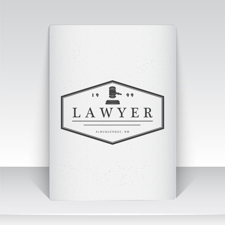 abogado: Lawyer services. Law office. The judge, the district attorney, the lawyer of vintage labels. Scales of Justice. Court of law symbol.  Sheet of white paper. Typographic labels, stickers, logos and badges. Flat vector illustration Vectores