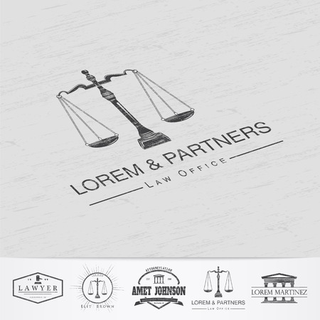 scales of justice: Lawyer services. Law office. The judge, the district attorney, the lawyer of vintage labels. Old retro vintage grunge. Typographic labels, stickers, logos and badges. Flat vector illustration