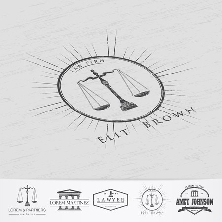 law symbol: Lawyer services. Law office. The judge, the district attorney, the lawyer of vintage labels. Old retro vintage grunge. Typographic labels, stickers, logos and badges. Flat vector illustration