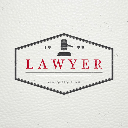 court judge: Lawyer services. Law office. The judge, the district attorney, the lawyer of vintage labels. Old retro vintage grunge. Typographic labels, stickers, logos and badges. Flat vector illustration