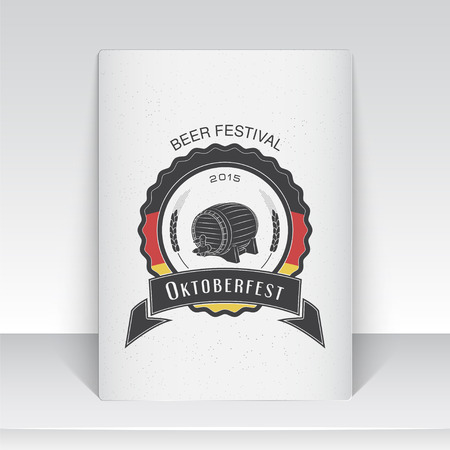 brewing: Beer and brewing. Beer festival Oktoberfest. Brewing typographic labels, logos and badges. Sheet of white paper. Flat vector illustration