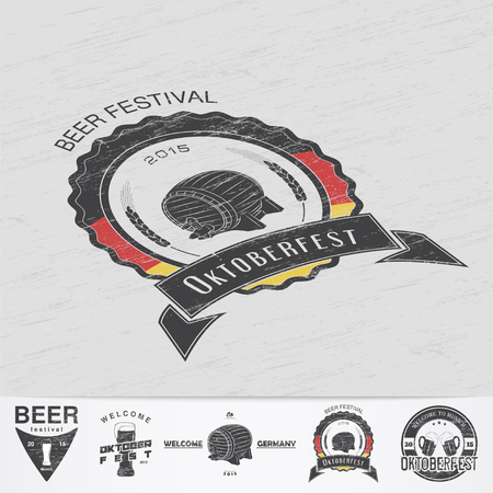 brewing: Beer and brewing. Beer festival Oktoberfest. Brewing typographic labels, logos and badges. Grunge Effect. Flat vector illustration