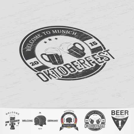 retro badge: Beer and brewing. Beer festival Oktoberfest. Brewing typographic labels, logos and badges. Grunge Effect. Flat vector illustration