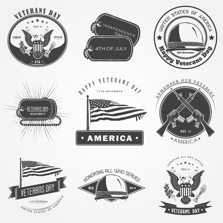 america soldiers: Happy veterans day set. Independence day. The celebration of patriotic celebration of America. Detailed elements. Typographic labels, stickers, logos and badges. Flat vector illustration