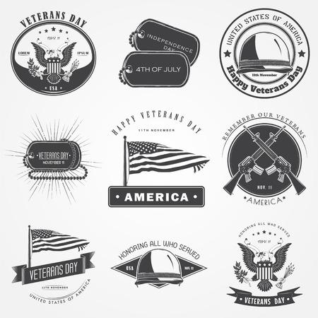 Veteranos felices fijó día. Dia de INDEPENDENCIA. La celebración de la celebración patriótica de América. Elementos detallados. Tipográfico etiquetas, pegatinas, insignias y distintivos. Ilustración vectorial Flat Ilustración de vector