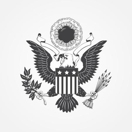 aguila americana: �guila con el blindaje. Tipogr�fico etiquetas, pegatinas, insignias y distintivos. Ilustraci�n vectorial Flat