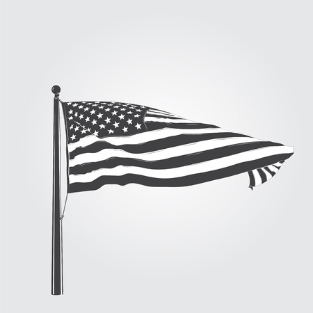 federal election: Developing the wind patriotic American flag. Detailed elements. Isolated object. Flat vector illustration