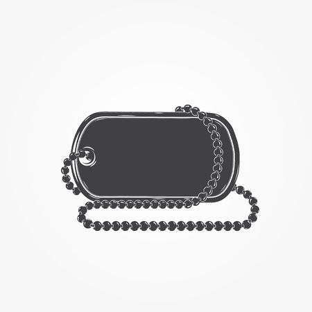 blank metallic identification plate: Dog tag chain. Detailed elements. Isolated object. Flat vector illustration