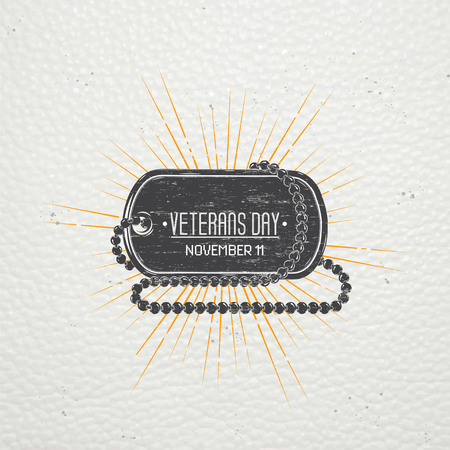 america soldiers: Happy veterans day. Detailed elements. Old retro vintage grunge. Scratched, damaged, dirty effect. Typographic labels, stickers, logos and badges. Flat vector illustration