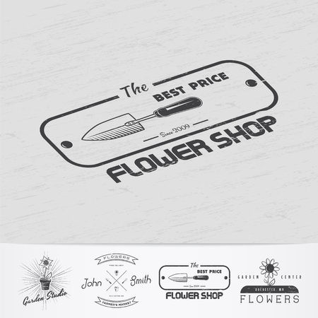 A farm growing flowers. Gardening Tools Shop. Garden Center set of vintage labels. Monochrome typographic labels, stickers, logos and badges.