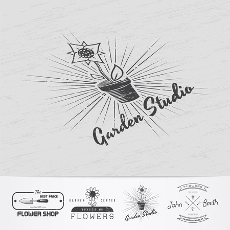 growing flowers: A farm growing flowers. Gardening Tools Shop. Garden Center set of vintage labels. Monochrome typographic labels, stickers, logos and badges.