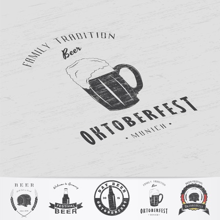 Beer and brewing. Beer festival Oktoberfest. Brewing typographic labels, logos and badges. Grunge Effect. Flat vector illustration