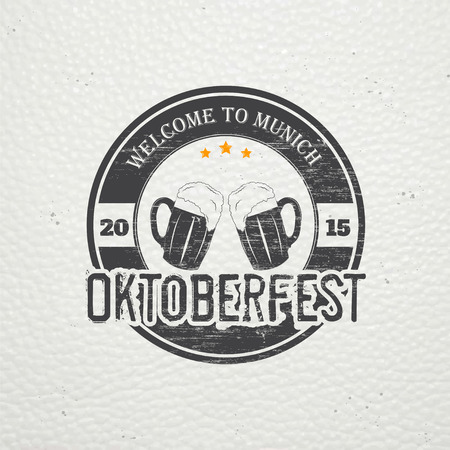 brewing: Beer and brewing. Beer festival Oktoberfest. Old retro vintage grunge. Scratched, damaged, dirty effect. Typographic labels, stickers, logos and badges. Flat vector illustration