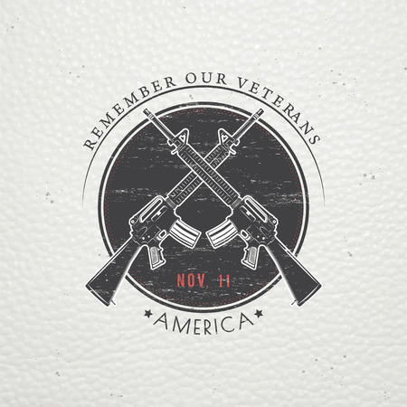 veteran: Happy veterans day. Detailed elements. Old retro vintage grunge. Scratched, damaged, dirty effect. Typographic labels, stickers, logos and badges. Flat vector illustration