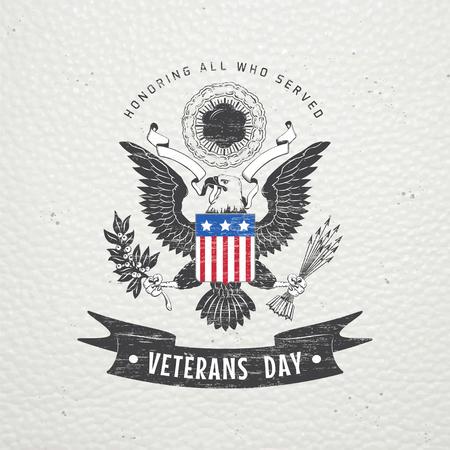 estrellas  de militares: Feliz Día de los Veteranos. Elementos detallados. Viejo grunge retro vintage. Rasguñado, dañado, efecto sucio. Tipográfico etiquetas, pegatinas, insignias y distintivos. Ilustración vectorial Flat