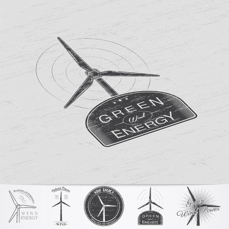 powered: Windmills for energy. Sustainable ecological electrical power generator powered by wind natural energy source. Old retro vintage grunge. Monochrome typographic labels, stickers, logos and badges. Illustration