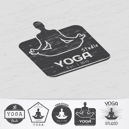 sport logo: Yoga studio, fitness and meditation class. Health and beauty. Sports and self-development. Old retro vintage grunge. Monochrome typographic labels, stickers, logos and badges. Flat vector illustration Illustration