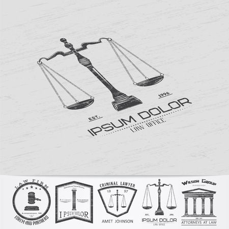 law office: Lawyer services. Law office. The judge, the district attorney, the lawyer of vintage labels. Scales of Justice. Old retro vintage grunge. Typographic labels, stickers, logos and badges. Flat vector illustration
