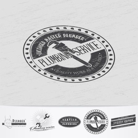 home repairs: Plumbing service. Home repairs. Repair and maintenance of buildings.Old retro vintage grunge. Scratched, damaged, dirty effect. Monochrome typographic labels, stickers, logos and badges. Flat vector illustration