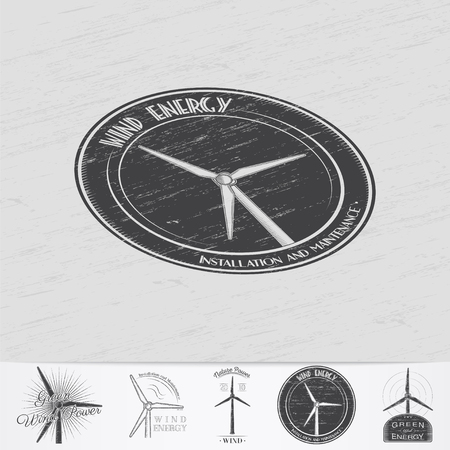 power generator: Windmills for energy. Sustainable ecological electrical power generator powered by wind natural energy source. Old retro vintage grunge. Monochrome typographic labels, stickers, logos and badges. Illustration