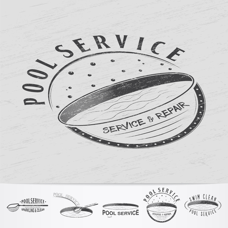 adjustment: Pool Service. Maintenance and Cleaning. Repair and adjustment of the house. Old retro vintage grunge. Monochrome typographic labels, stickers, logos and badges. Flat vector illustration