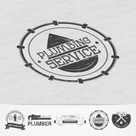 repairman: Plumbing service. Home repairs. Repair and maintenance of buildings.Old retro vintage grunge. Scratched, damaged, dirty effect. Monochrome typographic labels, stickers, logos and badges. Flat vector illustration