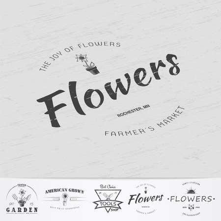 secateurs: A farm growing flowers. Gardening Tools Shop. Garden Center set of vintage labels. Monochrome typographic labels, stickers, logos and badges.