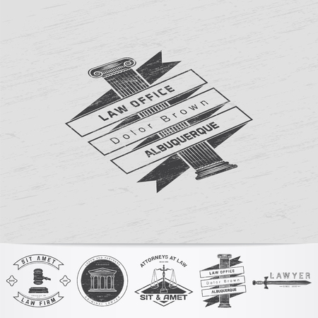 lawyer: Lawyer services. Law office. The judge, the district attorney, the lawyer of vintage labels. Old retro vintage grunge. Typographic labels, stickers, logos and badges. Flat vector illustration