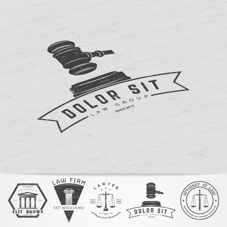 Lawyer services. Law office. The judge, the district attorney, the lawyer of vintage labels. Old retro vintage grunge. Typographic labels, stickers, logos and badges. Flat vector illustration